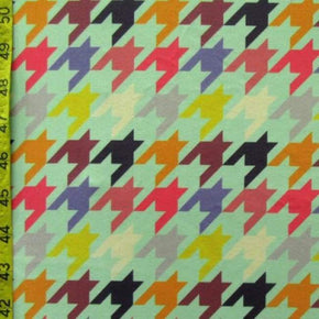 4 Way Stretch Houndstooth Print On Polyester Spandex Whitegreen