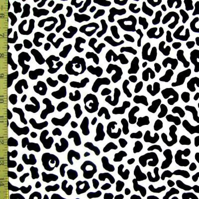 Pale Turquoise Leopard Animal Print on Stretch Nylon Spandex Tricot Fabric