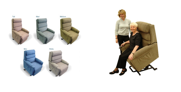 Size Guide - Topform Ashley Lift Chair - Think Mobility
