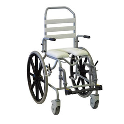 Shower Commode Tubalco Paediatric Self Propelled - Flat Arms - Swingaway Foot Rest - Strap Back 32Cm [00-966] - Think Mobility