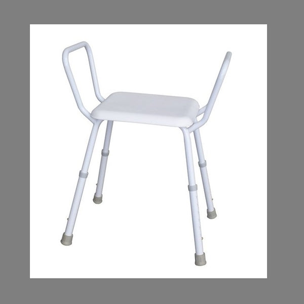 Economy Shower Stool Steel Frame Plastic Seat Height Adjustable R&r [12325Sp] - Think Mobility