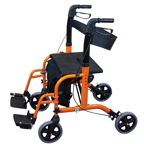 Aidapt Rollator Duo Deluxe Transit Chair Orange [Vp184O] - Think Mobility