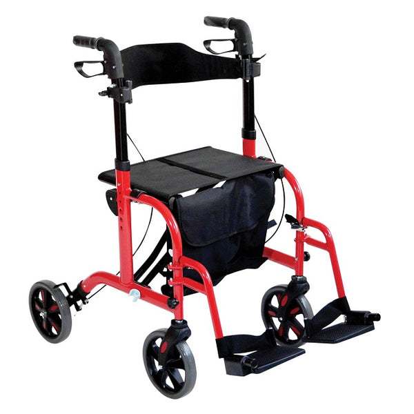 Aidapt Rollator Duo Deluxe Transit Chair Red [Vp184R] - Think Mobility