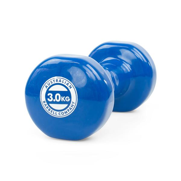 Dumbell 3Kg Pvc Coated, Blue [Aus-Dv3] - Think Mobility