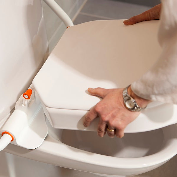 Etac Hi-Loo Fixed With Arm Support Toilet Seat Raiser Height 6Cm [80301316-2] - Think Mobility