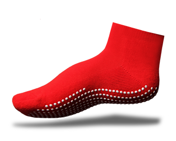 Gripperz Non Slip Sock Maxi Medium Red Above Ankle [M-Red-Med] - Think Mobility