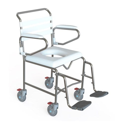 Shower Commode Maxi Attendant Propelled 50Cm Swing Away Footplates [Ka114S50] - Think Mobility