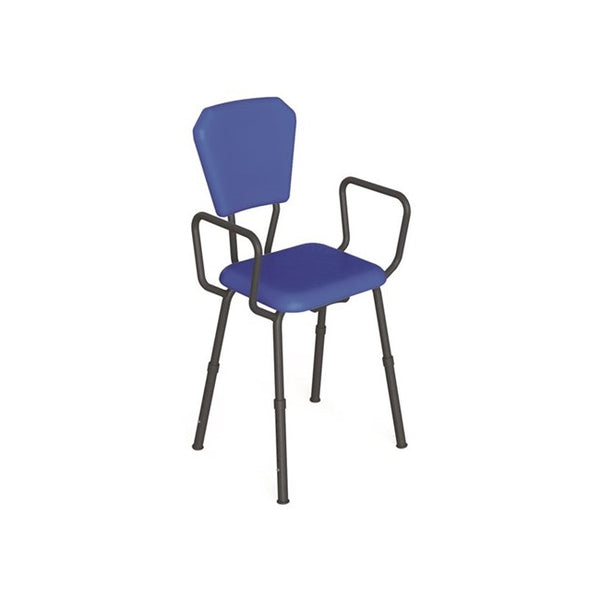 Kitchen Propping Stool With Arms - Black Frame, Blue Seating - Kcare [Ka710A] - Think Mobility