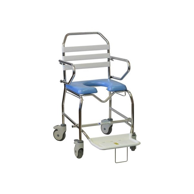 Tubalco Standard Transit Mobile Shower Commode 445W With Swing Up Loop Arms & Slide Out Footrest [00-930A] - Think Mobility