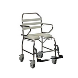 Tubalco Standard Transit Mobile Shower Commode 460W With Swing Up Loop Arm & Swing Away Footplates [00-920A] - Think Mobility