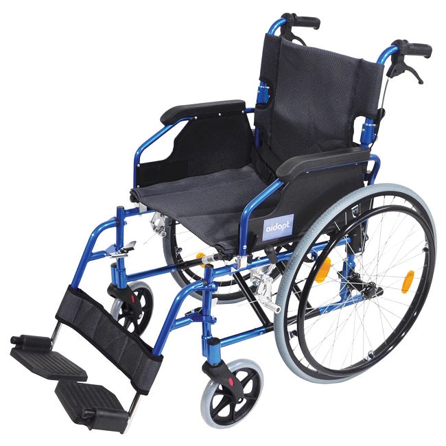 "Wheelchair Aidapt Lightweight 18"" Self Propelled Blue [Va165B] - Think Mobility"