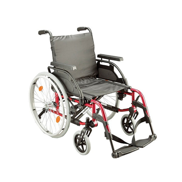 Wheelchair Breezy Basix 2 Fixed Backrest Self Propelled 16X16/18 Red [074100-015] - Think Mobility