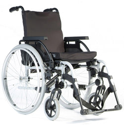 Wheelchair Breezy Basix 2 Fixed Backrest Solid Wheel Self Propelled 16X16/18 Silver [074102-003] - Think Mobility
