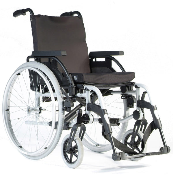 Wheelchair Breezy Basix 2 Fixed Backrest Pneumatic Self Propelled 16X16/18 Silver [074100-009] - Think Mobility