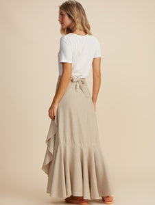 Linen Solid-Colors Long Skirt