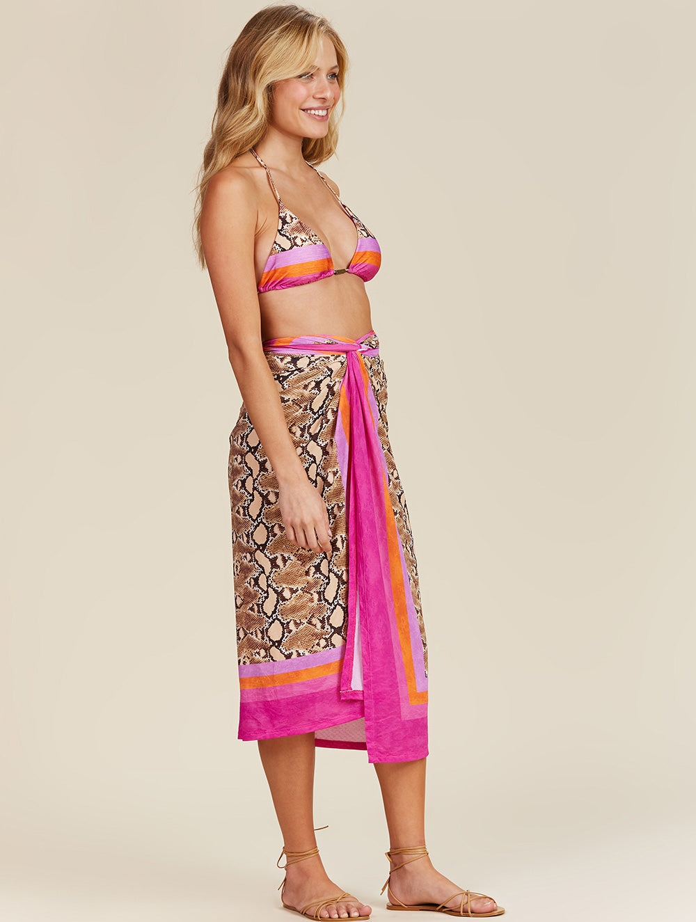 Shantal Printed long Sarong with tie detail on the side.