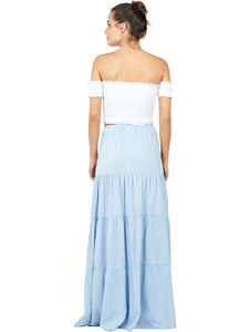 Solid-color Linen Long Skirt