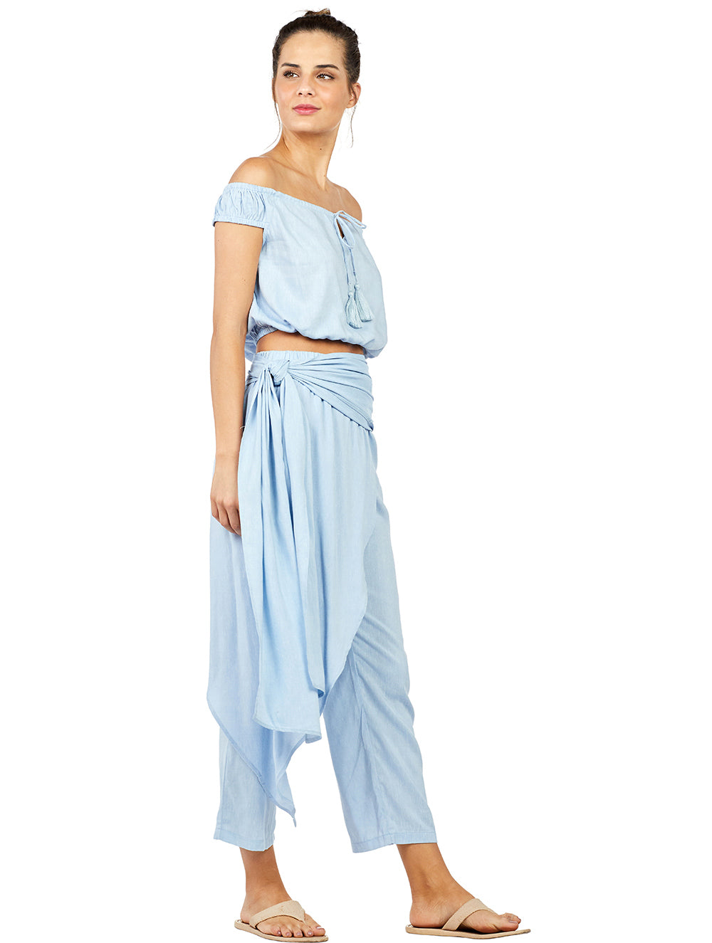 Solid-color Linen Pants with Overskirt