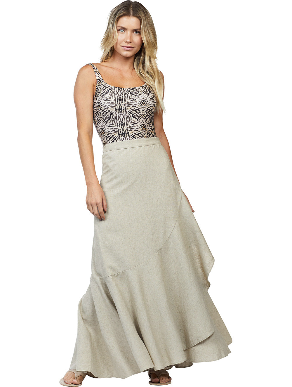 Long Dress in Solid-color Linen