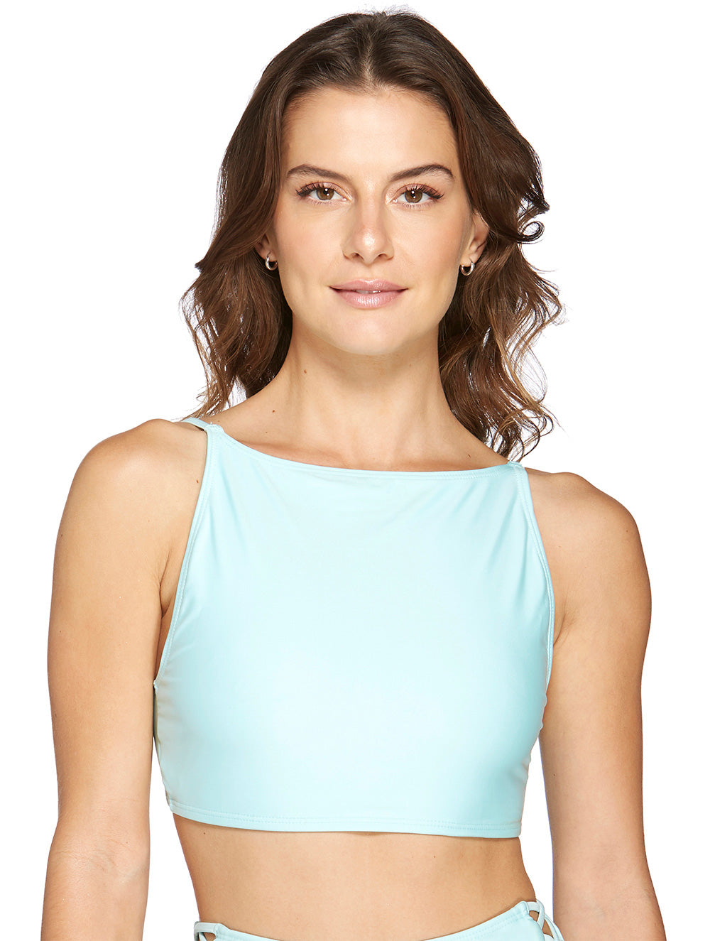 Solid-Color Halter Cropped