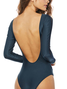 Solid-color Interlaced Long-sleeved One-piece