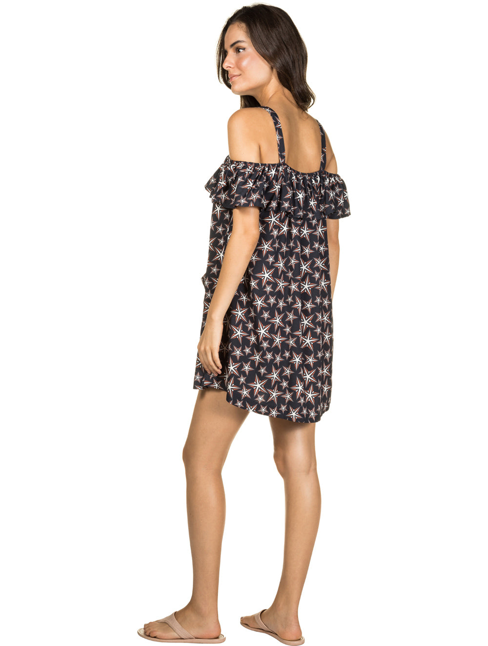 New York Short dress with shoulder-to-shoulder sleeves