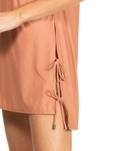 Solid-color Short dress with side laces
