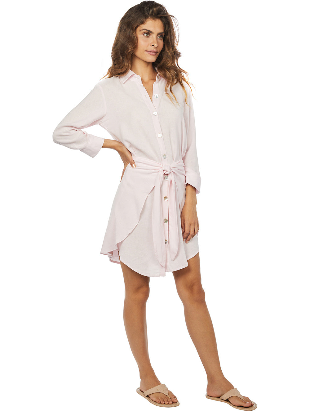 Linen Solid-colors Wrapover Dress