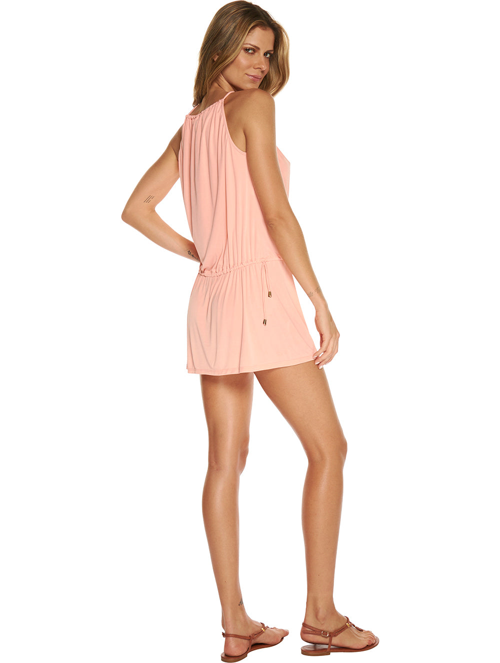 Solid Color Short Dress with Rounded Hem
