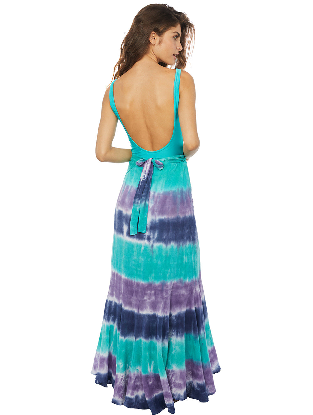 Tie Dye Tricolor Long Wrapover Skirt