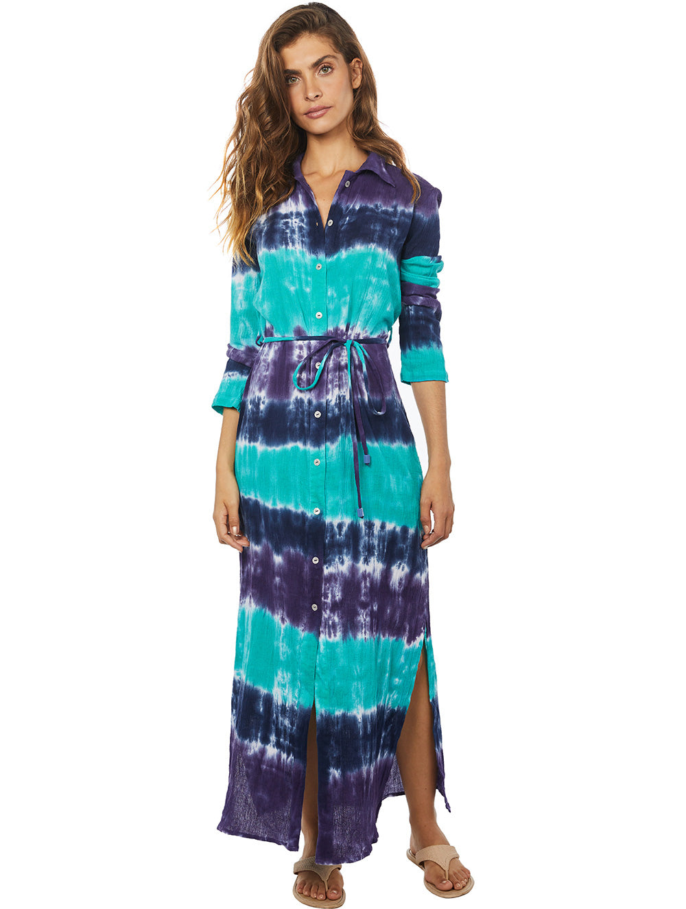 Tie Dye Tricolor Long Dress