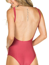 Load image into Gallery viewer, Solid-color one-piece halter neck swimsuit with cups