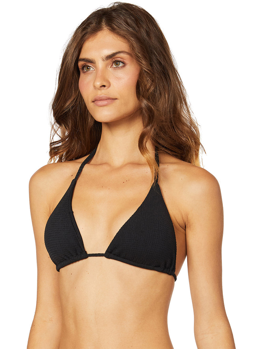 Solid-Color Plissé Slide Triangle Top