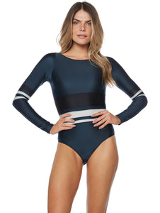 Solid-color Cutout Long-sleeved One-piece