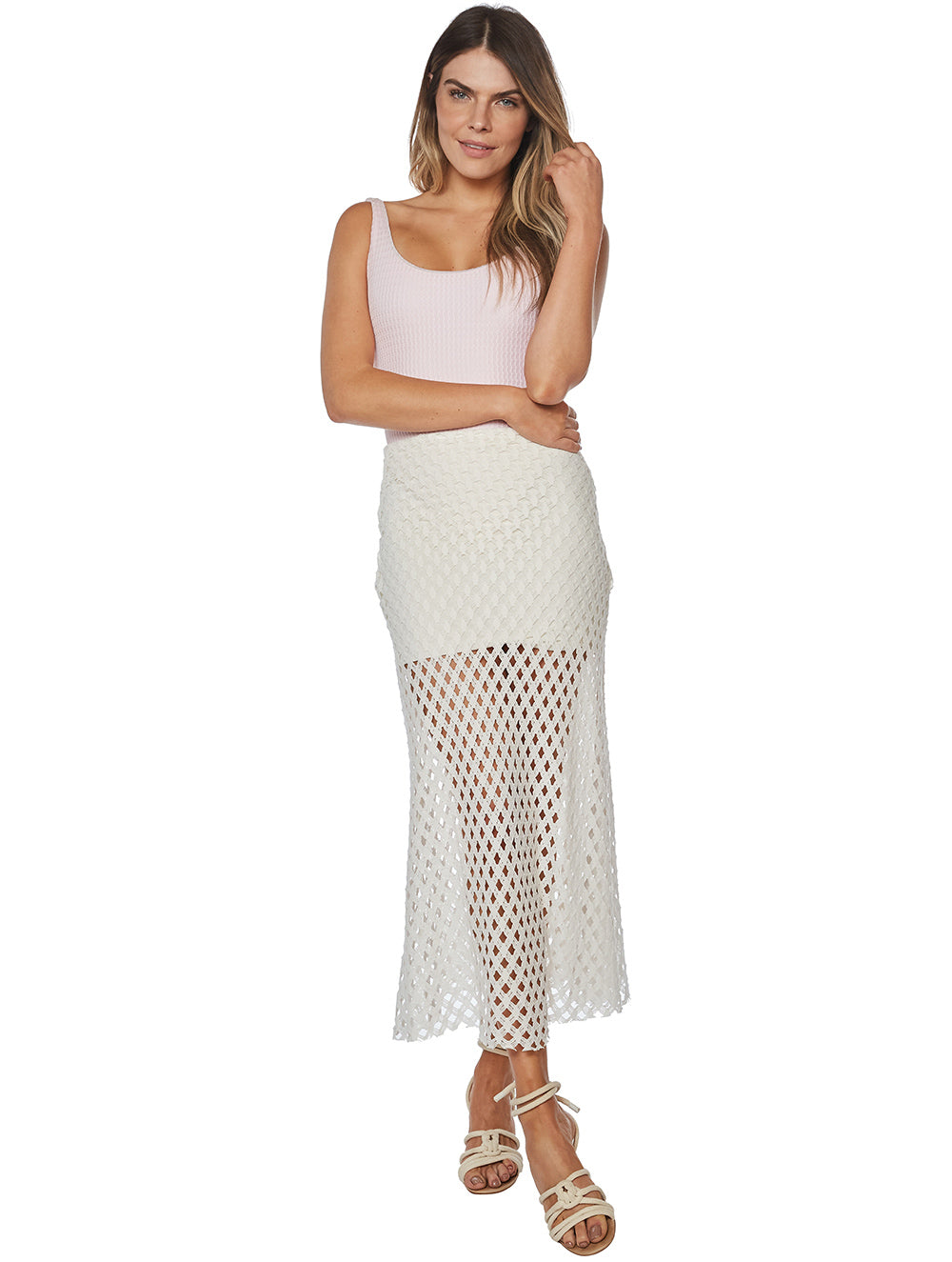 Solid-Color Netting Midi Skirt