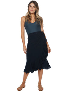 Rubi Linen Wrapover Skirt