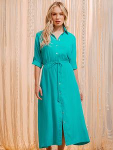 Linen Solid-colors Midi Dress