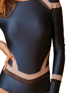 Cutout Long Sleeve One-piece