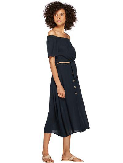 Solid-Color Linen Midi Skirt