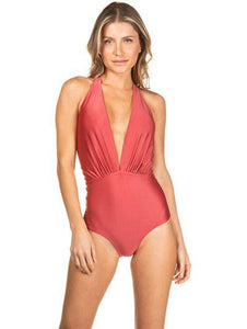 Solid-color one-piece halter neck swimsuit