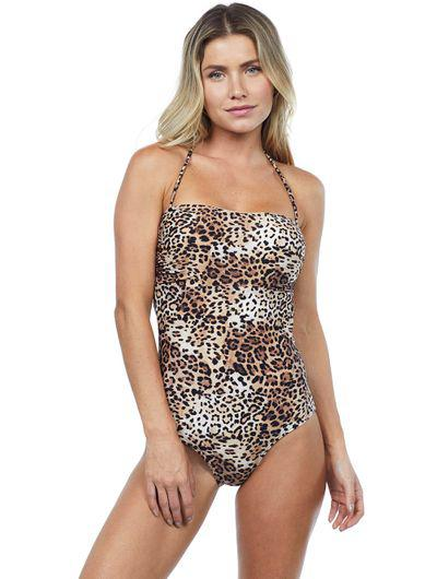 Life Print Strapless One-Piece