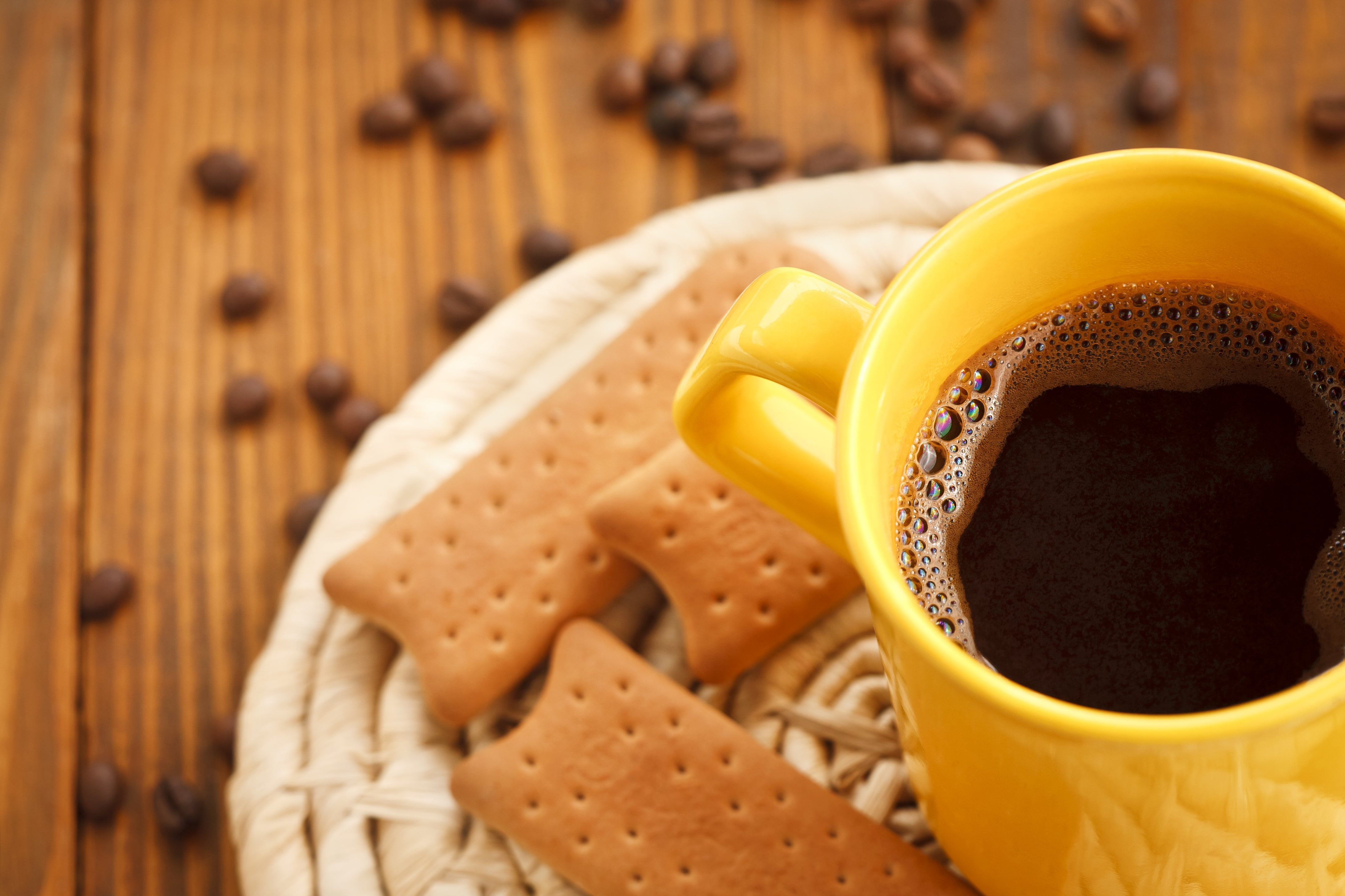 cups of coffee and biscuits
