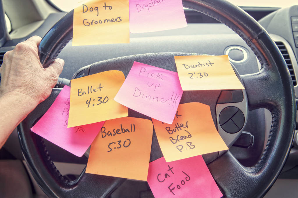 sticky notes on steering wheel, stressed mom