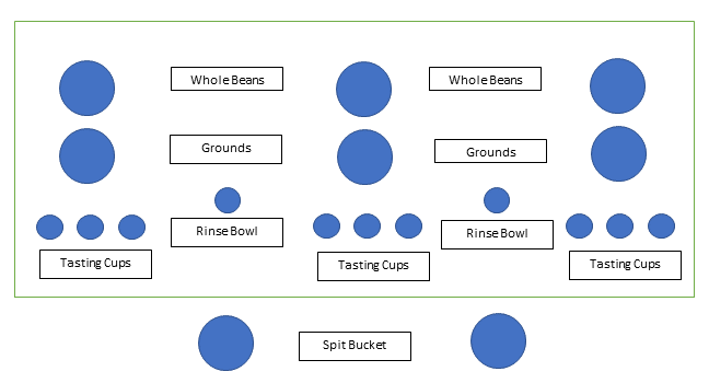 diagram of coffee tasting table layout
