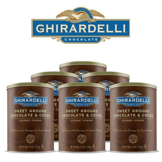 Ghirardelli Sweet Ground Chocolate & Cocoa, Case (6) 3 lbs. Tubs
