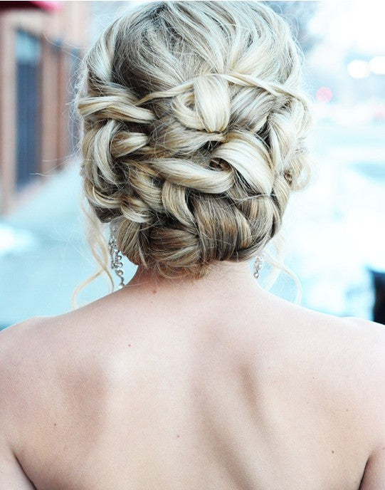 clip in hair extensions-braided-updo