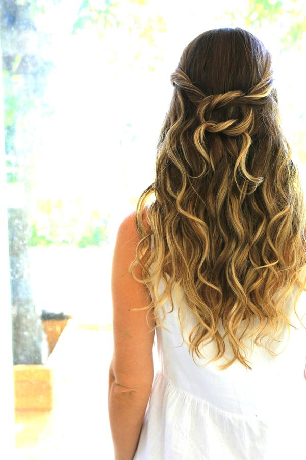 clip in hair extensions-knotted-half-up-style