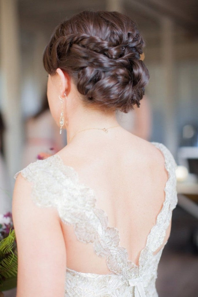 clip in hair extensions-wedding-styles-laced chignon