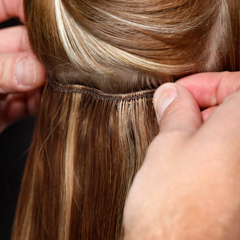 double wefts applying back of head