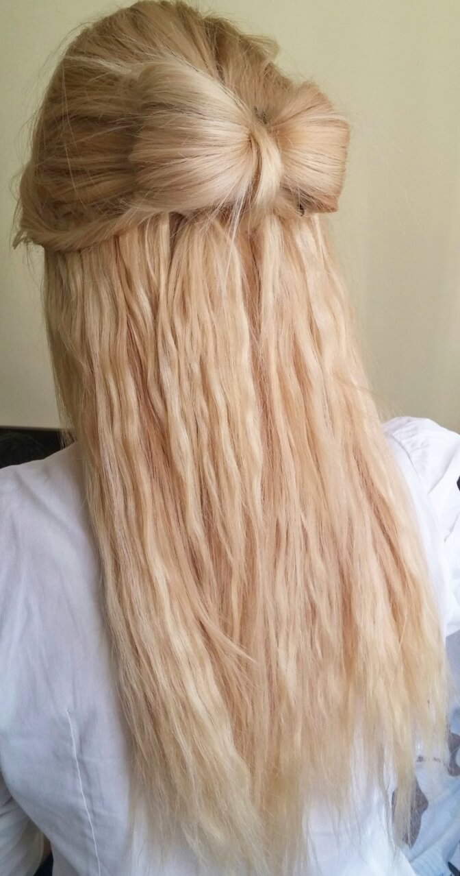 Pleasing Bow Half Up Do Hairstyle Using Cliphair Hair Extensions Hair Short Hairstyles For Black Women Fulllsitofus
